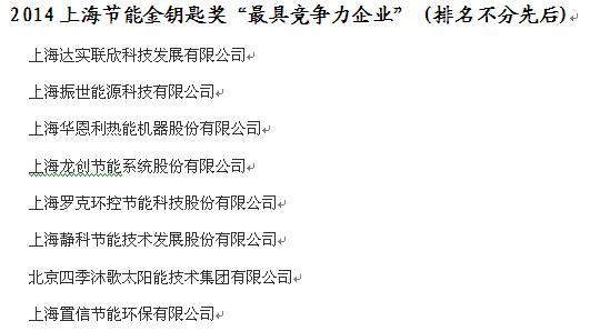 """2014上海节能金钥匙奖""""最具竞争力企业"""" (排名不分先后)"""