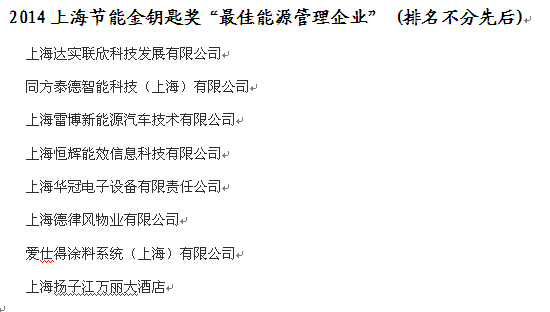 """2014上海节能金钥匙奖""""最佳能源管理企业"""" (排名不分先后)"""
