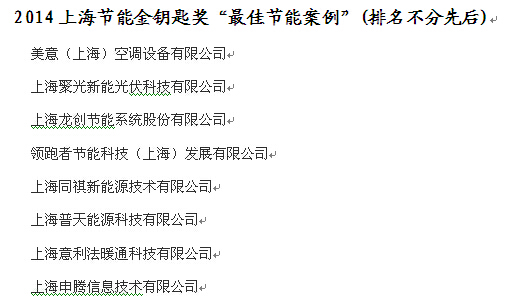 """2014上海节能金钥匙奖""""最佳节能案例""""(排名不分先后)"""